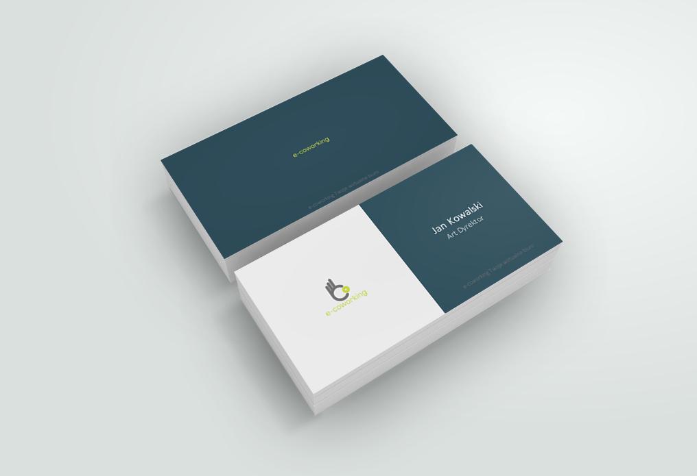 Projekt wizytówek wirtualnego biura firmy e-coworking z Gdyni.