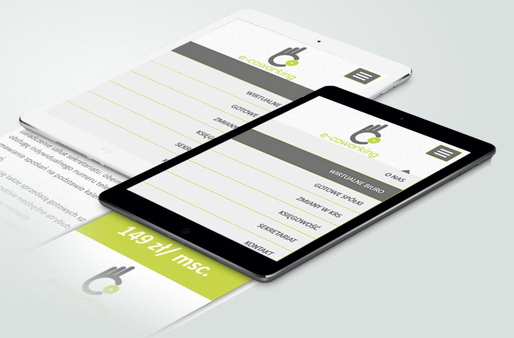 """Responsywny projekt strony www wirtualnego biura firmy """"e-coworking"""". Strona internetowa CMS (system zarządzania treścią)."""