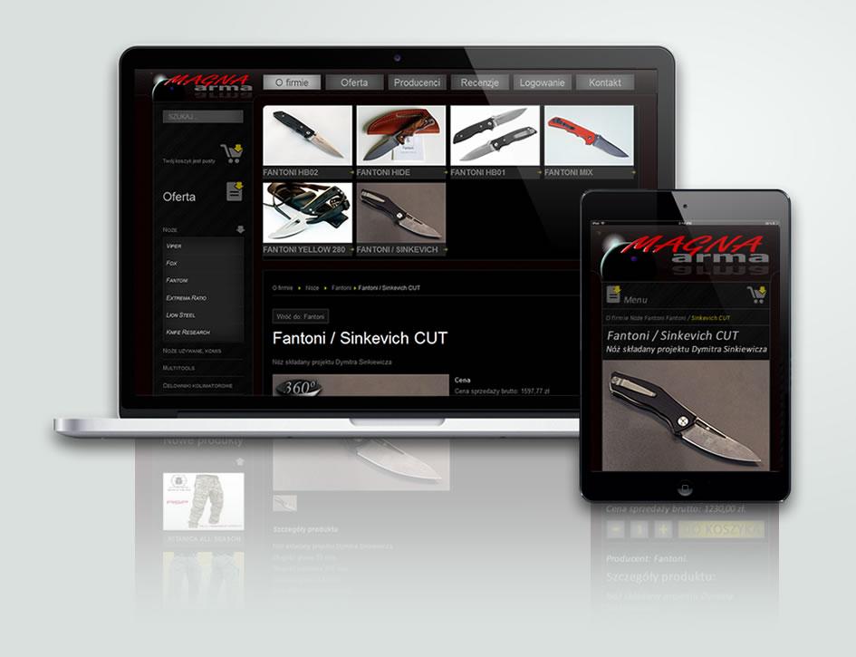Strona internetowa firmy Magna arma.