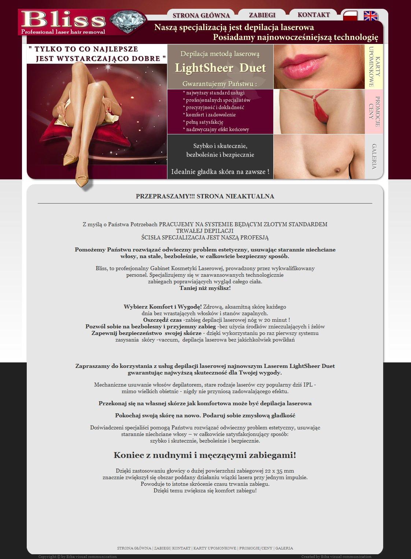 Strona internetowa firmy Bliss Professional laser hair removal.