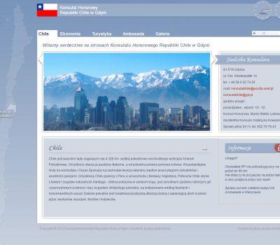 Projekt strony internetowej Konsulatu Honorowego Republiki Chile w Gdyni.