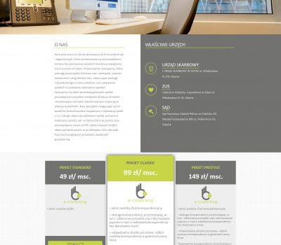 """Projekt strony www wirtualnego biura firmy """"e-coworking"""". Strona internetowa CMS (system zarządzania treścią)."""