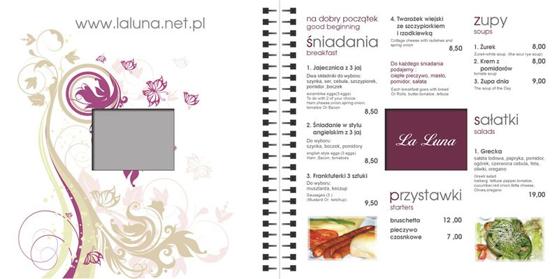 "Karta menu restauracji ""La Luna"" Gdynia."
