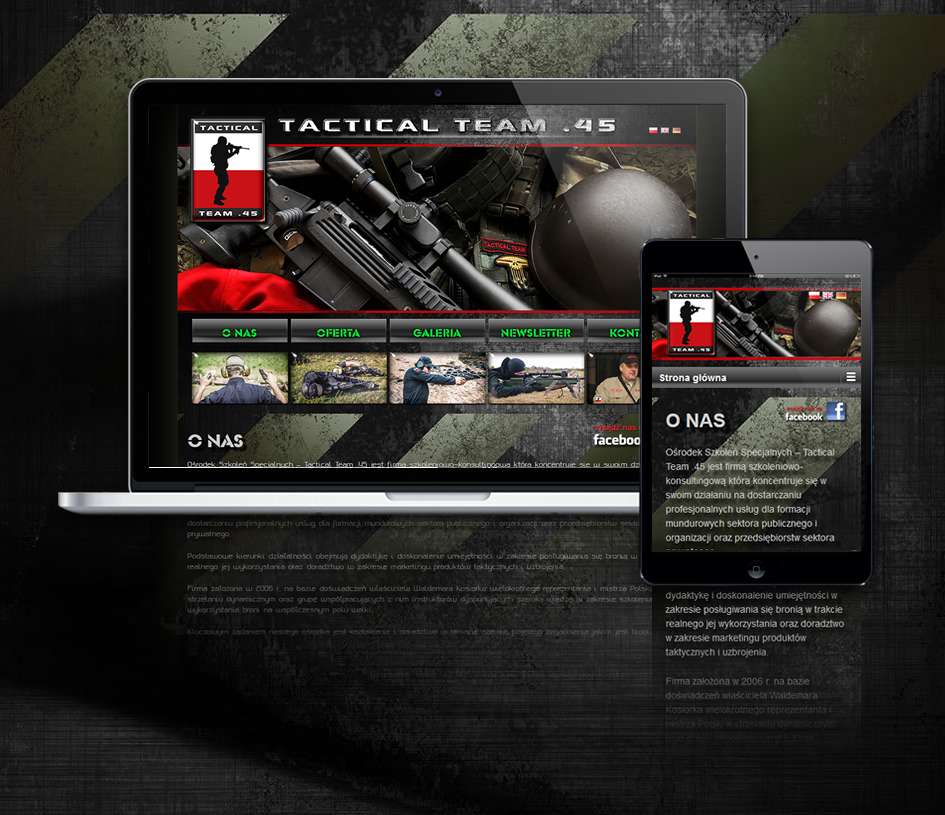 Projekt strony internetowej www firmy szkoleniowo-konsultingowej Tactical team 45.