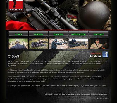 Projekt strony internetowej www firmy Tactical team 45.