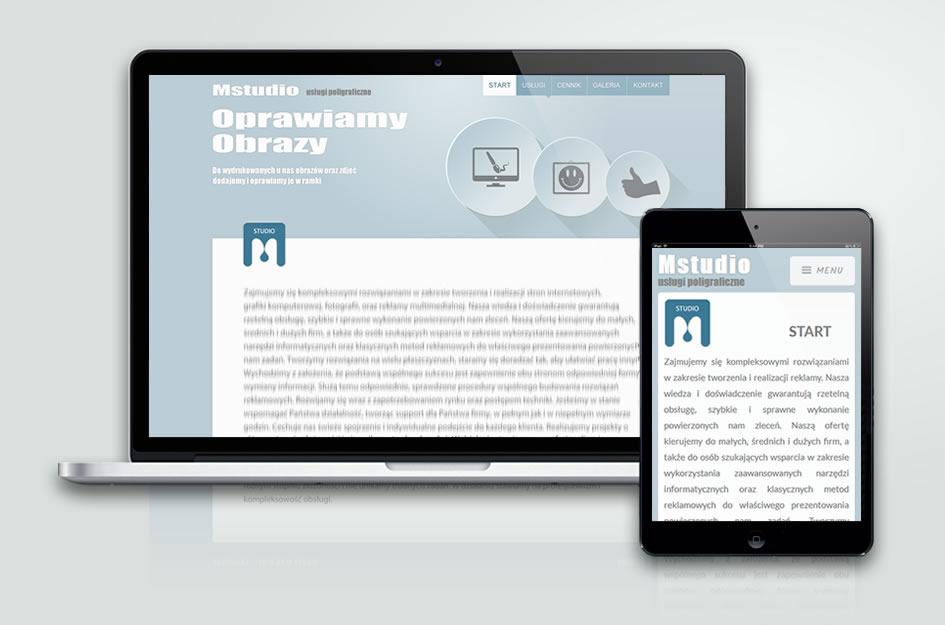Projekt strony internetowej www firmy M-studio.