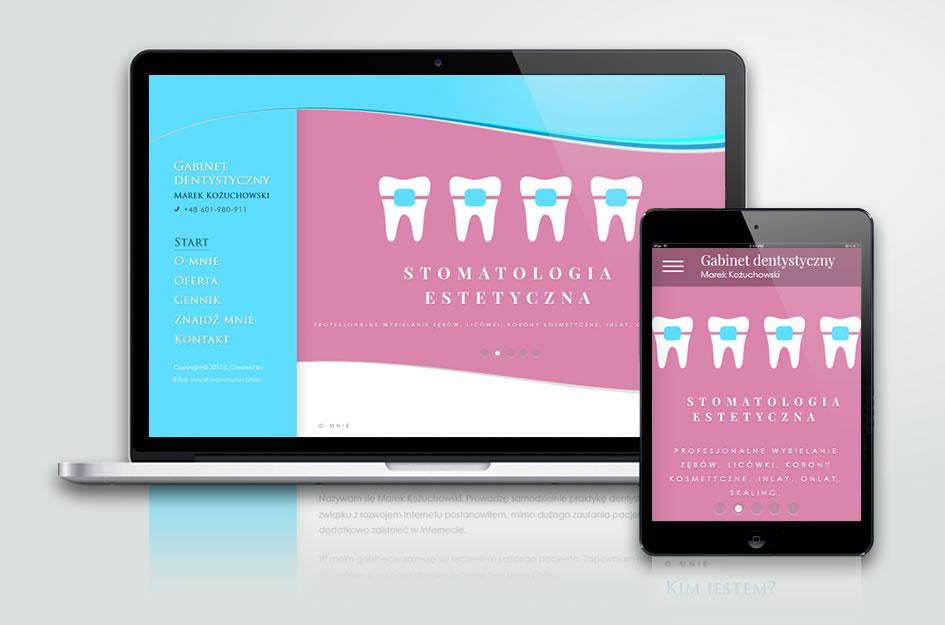 Klasyczna strona internetowa gabinetu dentystycznego z Gdyni.