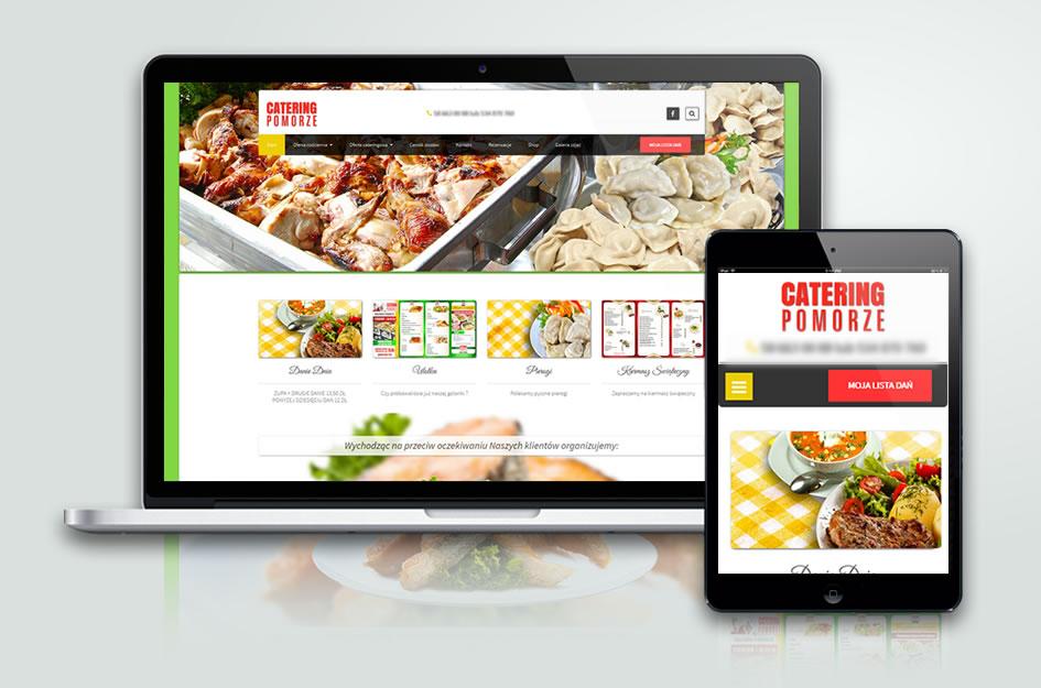 """Stworzona przez nas strona internetowa CMS, z systemem zamawiania potraw. Baru, Restauracji """"Catering Pomorze"""""""