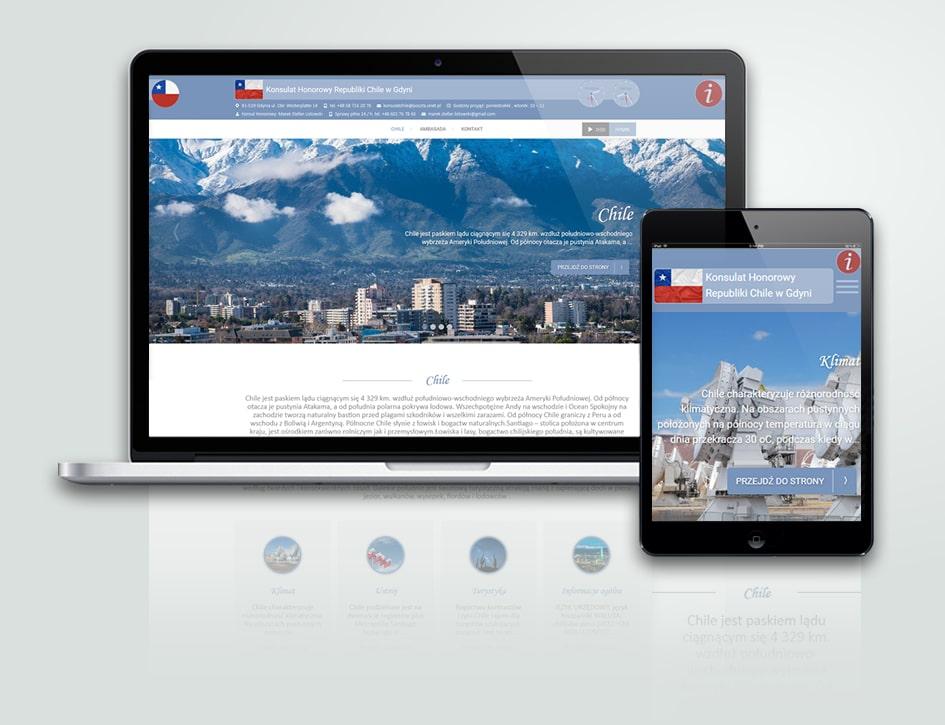 Projekt strony internetowej CMS Konsulatu Honorowego Republiki Chile w Gdyni.