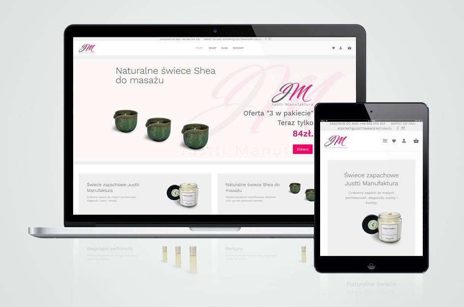 """Projekt i realizacja - sklep internetowy dla firmy """"Justti Manufaktura""""."""