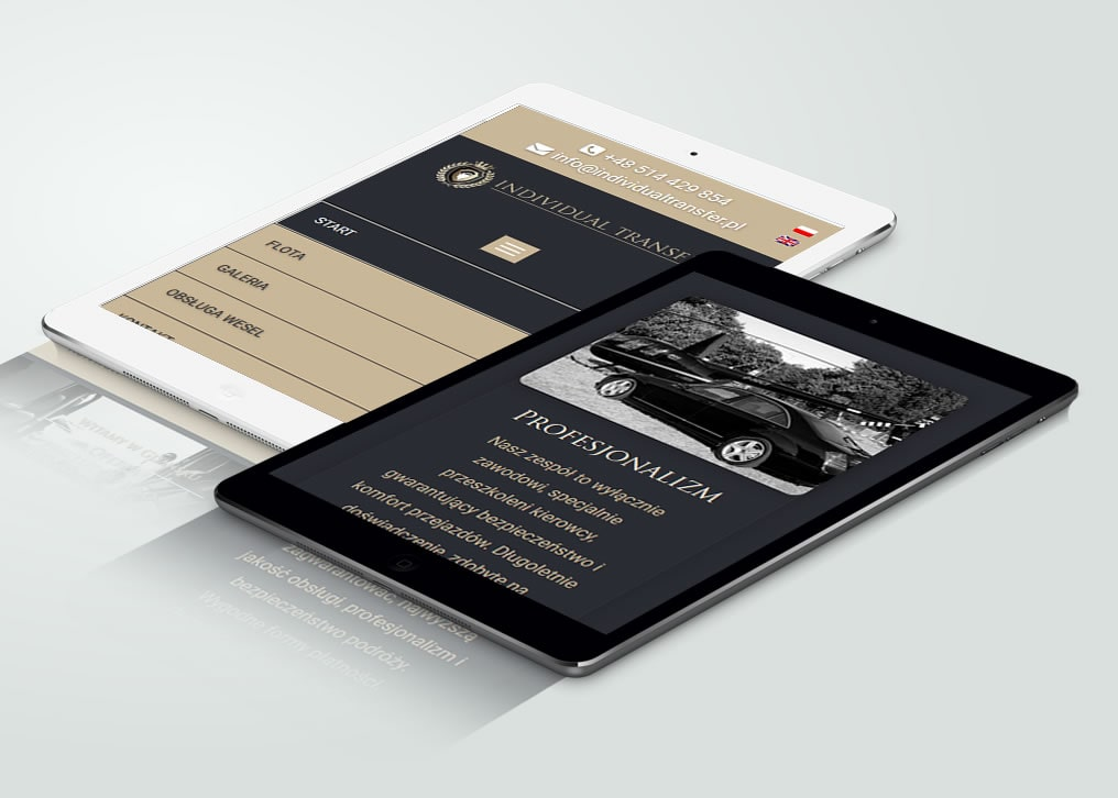 Projekt strony internetowej www firmy Individual Transfer.